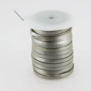 Lacet en cuir plat - largeur 5 mm - ARGENT