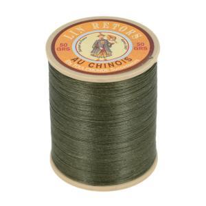 Bobine fil de lin au chinois retors extra glacé n°40 - KAKI FONCE 493