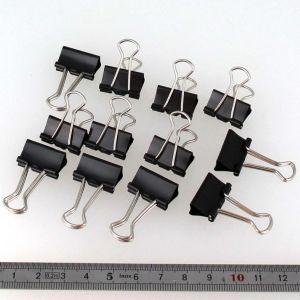 Lot de 12 pinces double clip - largeur 19 mm - NOIR
