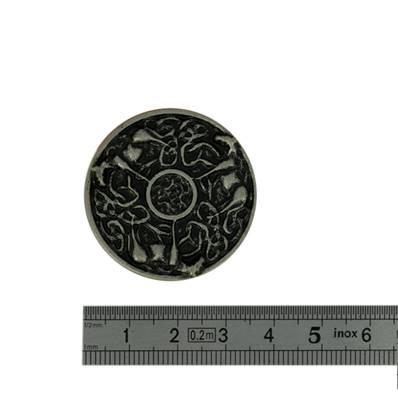 Concho CHEVAUX CELTIQUES - 35 mm - Argent vieilli