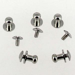 Lot de 5 boutons de col à vis T4 - Nickelé avec vis 3x5mm