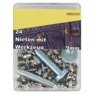 Kit 24 rivets DOUBLE CALOTTE (T4) et outils de pose - 9 mm - NICKELÉ