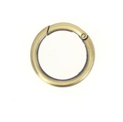 Mousqueton rond - laiton vieilli satiné - Diamètre 35 mm
