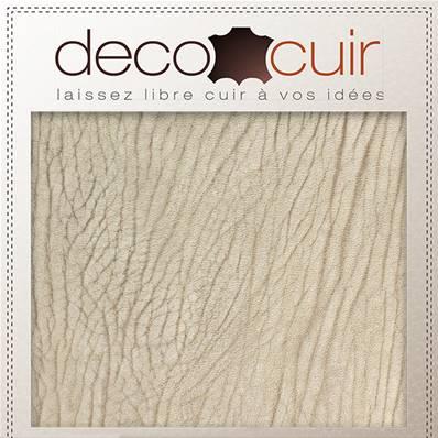 Morceau de cuir de vachette grain écorce - BEIGE - 30x40 cm - Ép 1,4 mm