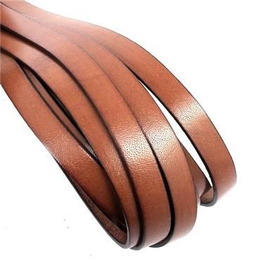 20 cm de lacet en cuir MARRON - largeur 10 mm