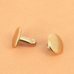Lot de 100 rivets moyen DOUBLE CALOTTE en laiton (T4) finition Doré luxe