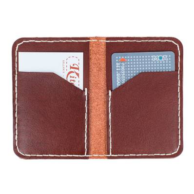 KitenCuir Porte Cartes double Marron Acajou - Fil beige