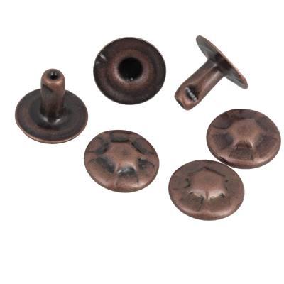 Lot de 100 rivets ANTIQUE - 9 mm COURT - VIEUX CUIVRE