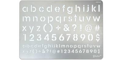 Plaque en acier pour dessins sur cuir pour pyrograveur - ALPHABET et CHIFFRES - 3601-01