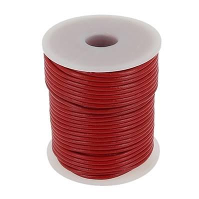 Lacet en cuir rond - diam 2 mm - ROUGE
