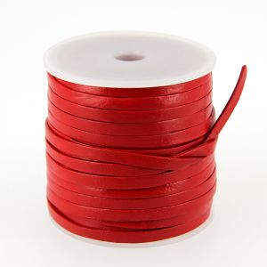Lacet en cuir plat - largeur 4 mm - ROUGE