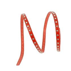 20 cm de lacet en cuir plat 5 mm PREMIUM - Rouge, rivets nickelés