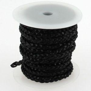 Lacet en cuir plat tressé - largeur 4 mm - NOIR