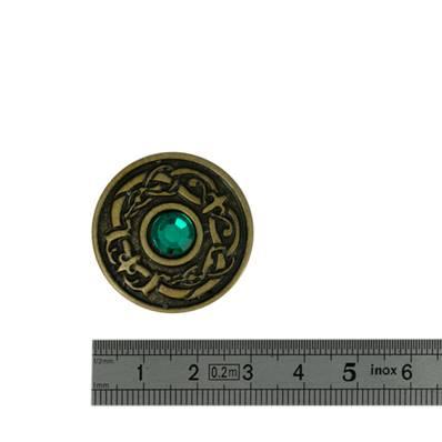 Concho OEIL DU DRAGON pierre EMERAUDE - 30 mm - Laiton vieilli