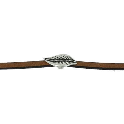 Coulissant FEUILLE - Lanière de 5 mm - ARGENT VIEILLI