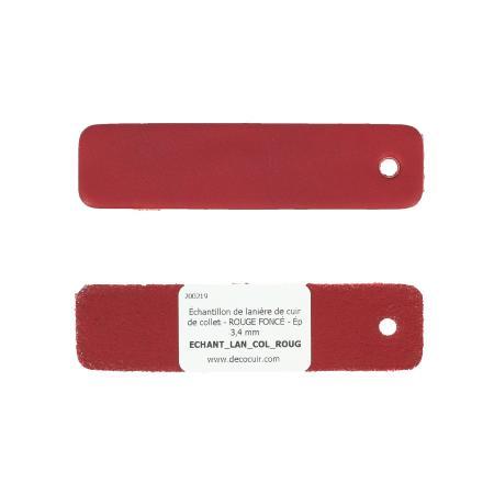 Échantillon de lanière de cuir de collet - ROUGE FONCÉ - Ép 3,4 mm