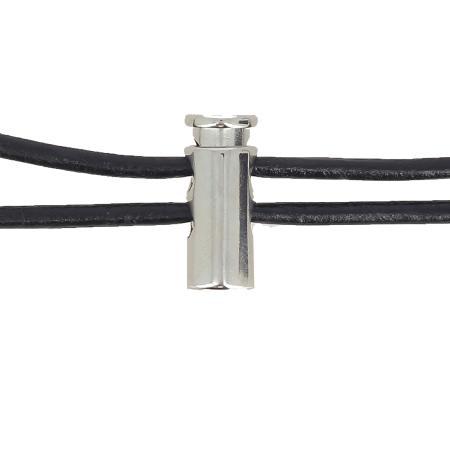 Fermoir stop lacet - NICKELÉ - Lacet de 4 mm