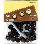 Kit Oeillets en étoile et outil de pose - 4 mm - LAITON VIEILLI