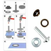 Kit Oeillets à rouler et outil de pose - 11 mm - LAITON VIEILLI