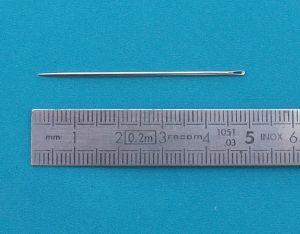 25 aiguilles droites - Bout pointu - Lg=48mm - d=1,0mm - Taille 1/0