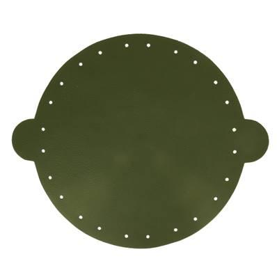 Cuir déjà coupé pour faire une bourse en cuir VERT FONCÉ - Diamètre 25 cm