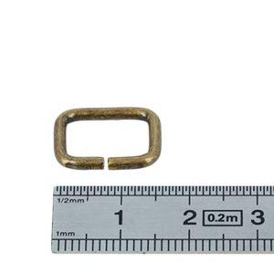 Passant rectangulaire - LAITON VIEILLI - 12 x 8 mm - Fil 2 mm