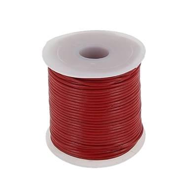 Lacet en cuir rond - diam 1 mm - ROUGE