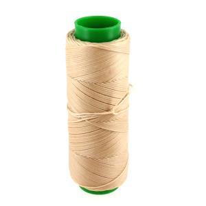 Bobine de fil polyester tressé et ciré - 100 mètres - diam 1 mm - BEIGE