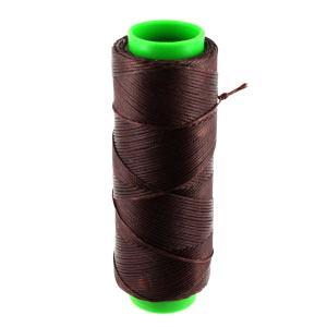 Bobine de fil polyester tressé et ciré - 100 mètres - diam 1 mm - MARRON FONCE