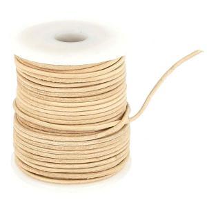 Lacet en cuir rond - diam 1,5 mm - NATUREL