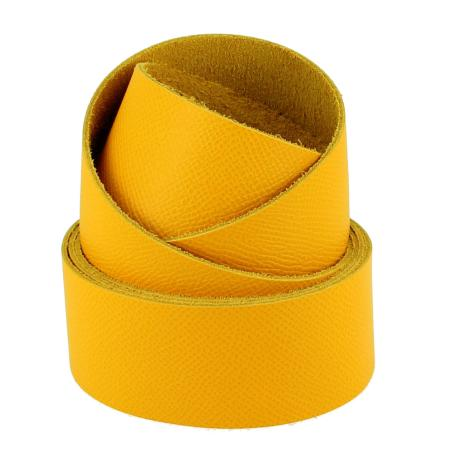 Sangle en cuir JAUNE SOLEIL - Grain dauphin - Largeur 24 mm