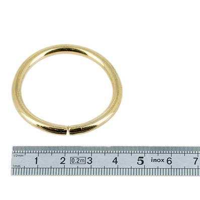 Anneau rond - acier DORE - 20 mm - Fil 3 mm
