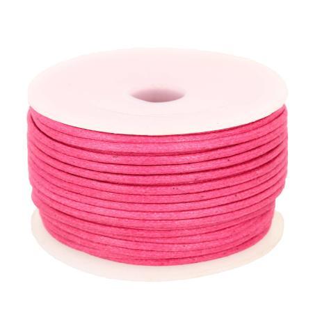Bobine 25 m lacet coton tressé ciré 2 mm - ROSE FUCHSIA