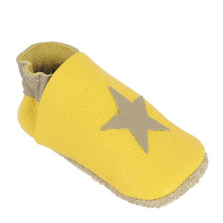Kit chaussons en cuir pour bébé - Jaune / Taupe / Étoile