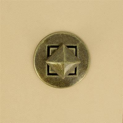 Fermoir pour sac ROND bouton PYRAMIDE - LAITON VIEILLI - 33 mm
