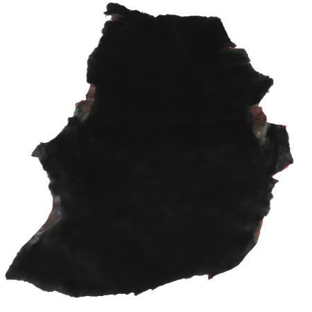 Peau de mouton lainé lisse - Dos velours rouge - NOIR C15
