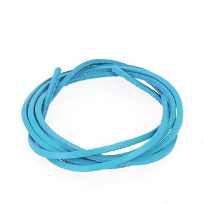 Lacet en cuir carré - largeur 2.8 mm - Turquoise