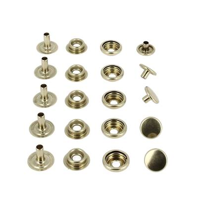 Lot de 5 boutons pression FORT - LAITON - Diamètre 12 mm