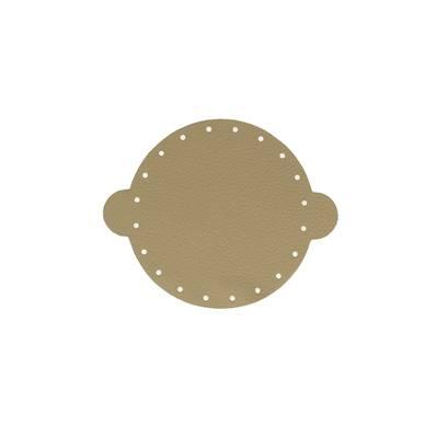 Cuir déja coupé pour faire une bourse en cuir KAKI - Diamètre 14,5 cm