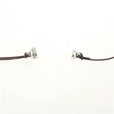 Fermoir bijou - Boule aimantée - Argent vieilli - Lacet rond 1,5 mm
