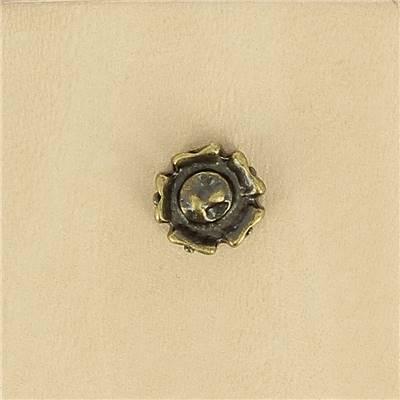 Lot de 6 conchos FLEUR - 11 mm - Laiton vieilli