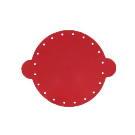 Cuir déja coupé pour faire une bourse en cuir ROUGE - Diamètre 14,5 cm
