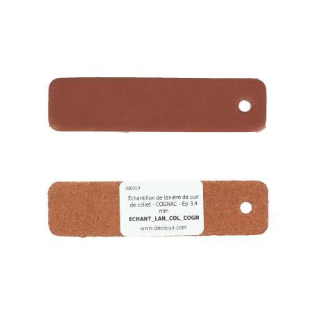 Échantillon de lanière de cuir de collet - COGNAC - Ép 3,4 mm