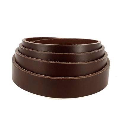 Lanière de cuir de collet nourri - MARRON CAFÉ - Larg 24 mm - Long 110 cm