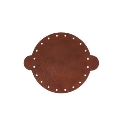 Cuir déjà coupé pour faire une bourse en cuir MARRON MARBRÉ - Diamètre 14,5 cm