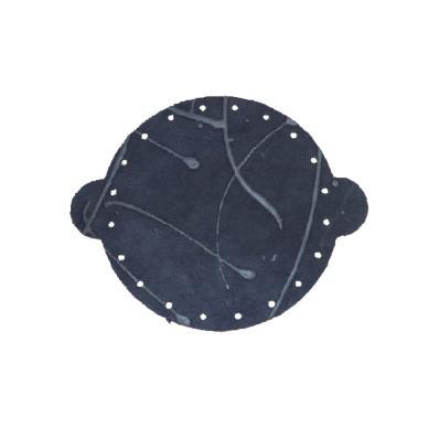 Cuir déja coupé pour faire une bourse en croûte de cuir BLEU NUIT - Diamètre 14,5 cm