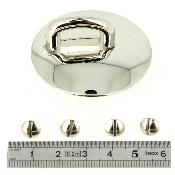 Pontet carré départ de poignée avec plaque ronde - NICKELÉ - 15 mm