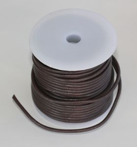 Lacet en cuir rond - diam 3 mm - CHOCOLAT