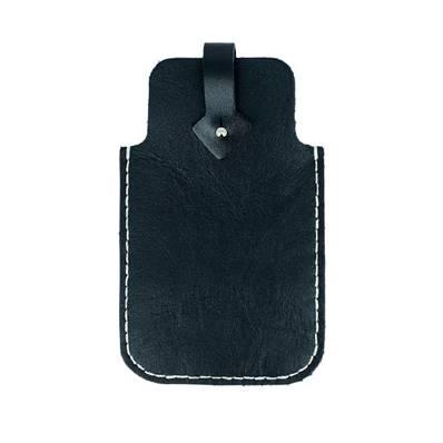 KitenCuir pochette Smartphone Noir - Fil écru