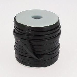 Lacet en cuir plat - largeur 4 mm - NOIR